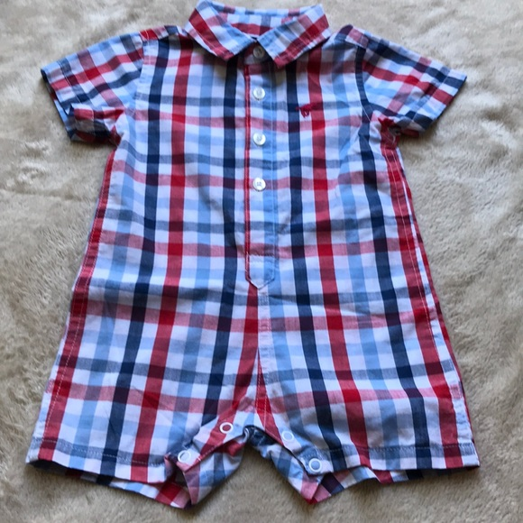 b8357bfe Wrangler One Pieces | Jeans Baby Boy 69 Months Plaid Romper | Poshmark