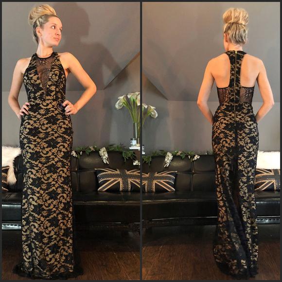 342a4d95449 ABS Hot Black Lace Nude Floor Length Plundge Dress