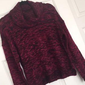 Cowl neck magenta sweater