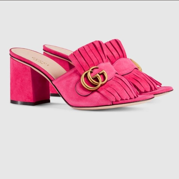 38ef8f130862 New Gucci Marmont Suede Kiltie Mule Sandal in Pink