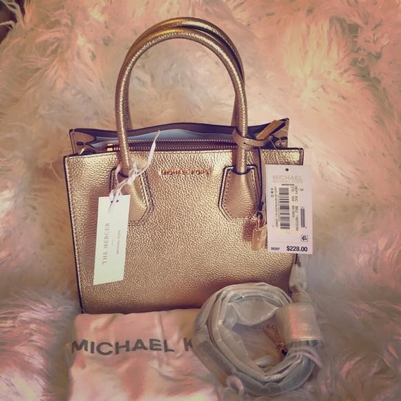 d7735e188 MICHAEL Michael Kors Bags | Michael Kors Mercer Metallic Gold Lthr ...