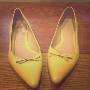 BCBGMAXAZRIA- Yellow shoes all leather.