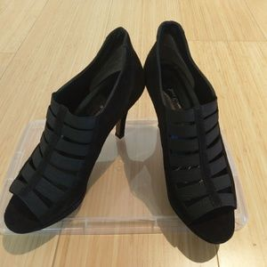 Paul Green black suede caged open toe bootie