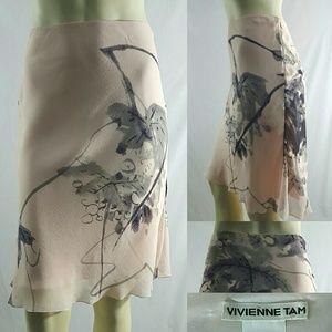 Vivienne Tam Silk Floral Watercolor Print Skirt