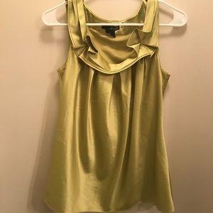 Green Silk Top w/ Collar Detail