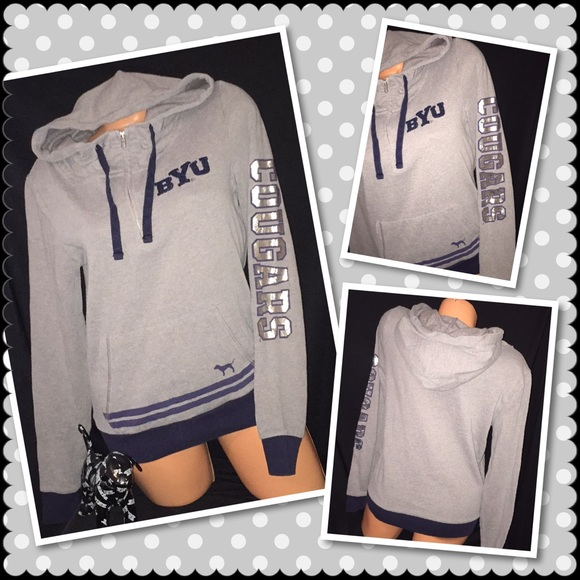 23dd68611f11a VS PINK BYU College Full zip hoodie crew SMALL