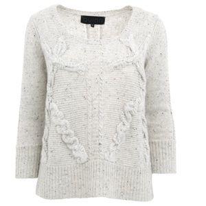 Quinn Luxury Cashmere Asta Cable Sweater Frost