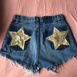 Nasty Gal After Party denim shorts w gold stars