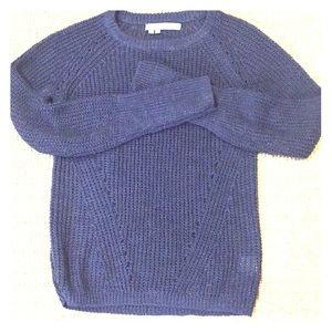 Blue cabled sweater by 360 Sweater.