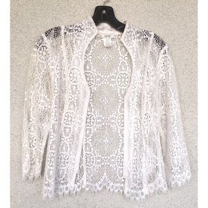 White Laced Cardigan Jacket by Cache