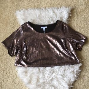 Boutique + Ashley Nell Tipton Sequin Crop Top