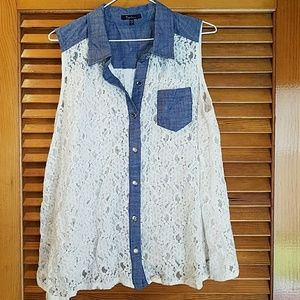 Denim/Linen Lace Top