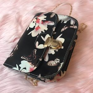 Handbags - Crossbody Purse with Floral Butterfly Print