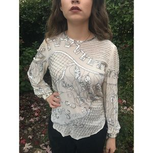 [vintage] beaded 100% silk holiday blouse