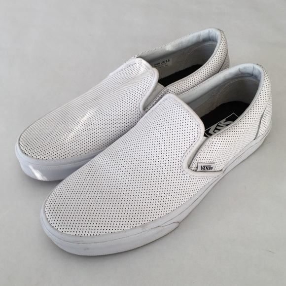 Vans White Perforated Leather Slip Ons