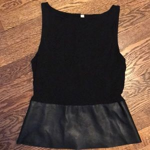 Saks Fifth leather trim top.