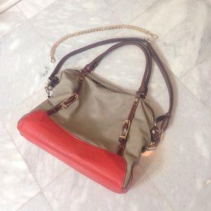 Melie Bianco large tote bag purse beige orange