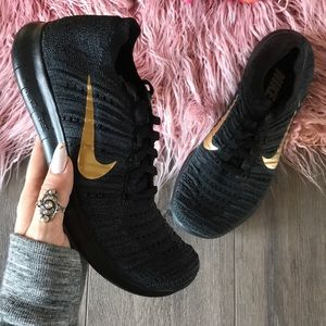 Nike Shoes - NWT Nike ID Free Rn Flyknit black on black gold
