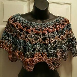 Accessories - Knit Poncho crochet Capelet shawl shoulder hug