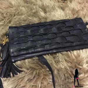 Black Leather Cross-body Handbag