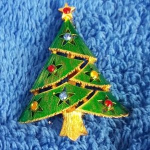 Green Goldtone Christmas Tree Pin / Brooch
