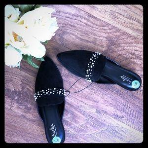Charles David black + faux Pearl mules shoes 8.5