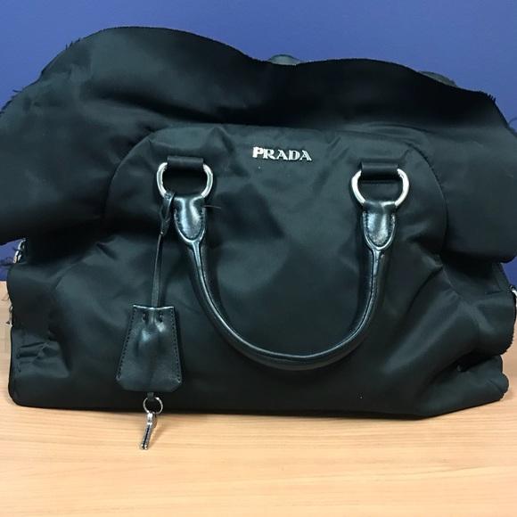 5e9c641b37b31d Prada Bags | Nylon Black Ruffle Bag With Leather Handles | Poshmark
