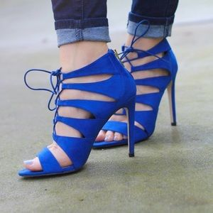 madden girl blue strappy heels size 8