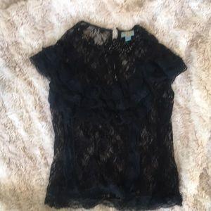 Plenty black lace cap sleeve blouse