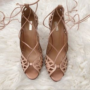 c22b44629568 SCHUTZ Shoes - SCHUTZ Dubianna Laser Cut Lace Up Heels