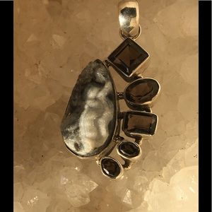 Jewelry - Sterling Silver Smoky Quartz and Drusy Pendant