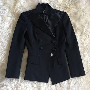 Authentic Balmain Wool Satin Silk Blazer Jacket 34