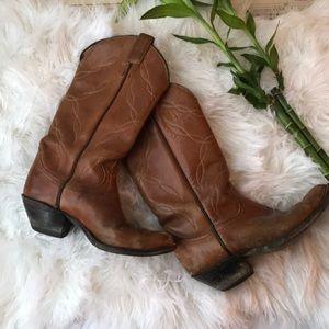 Shoes - Vintage cowboy boots, tan leather