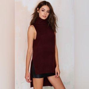 Turtleneck Knit High Low Sleeveless Sweater