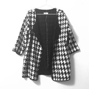 Jackets & Blazers - Houndstooth Open Drape Jacket