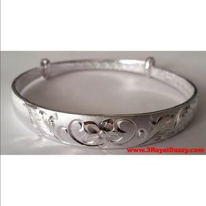 Jewelry - New Flower Design 999 Solid  Adjustable Bangle