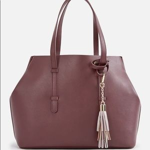 JustFab Barth Tote Handbag in Mauve with zip pouch