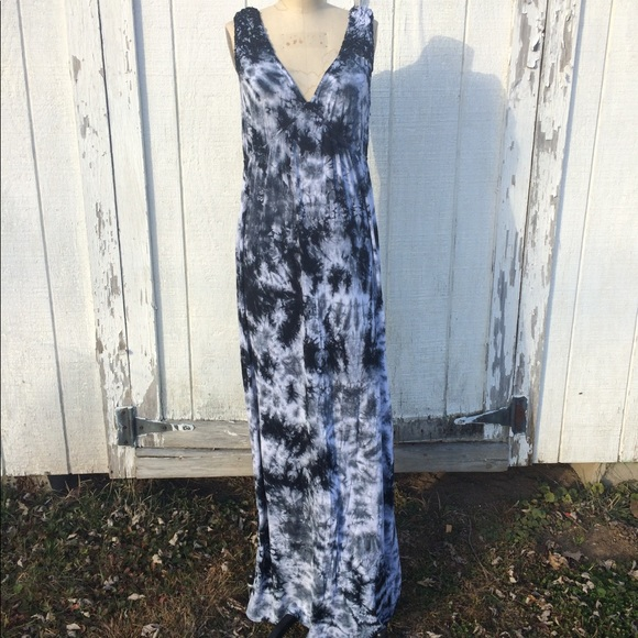 Agb Dresses Black White Tie Dye Maxi Dress Sz Xl Poshmark