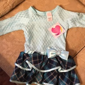Youngland baby blue and plaid bow dress