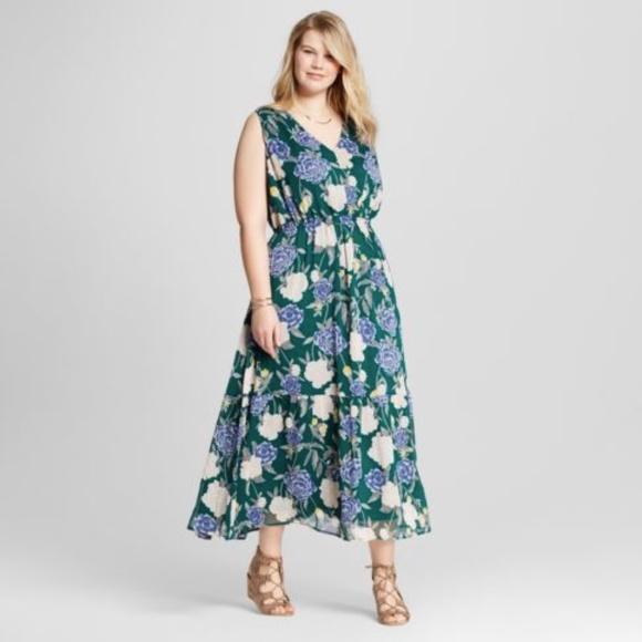 Plus Size Floral Maxi Dress Merona XXL chiffon Boutique