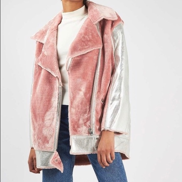 super quality check out 2018 shoes Topshop pink metallic biker jacket with fur NWT