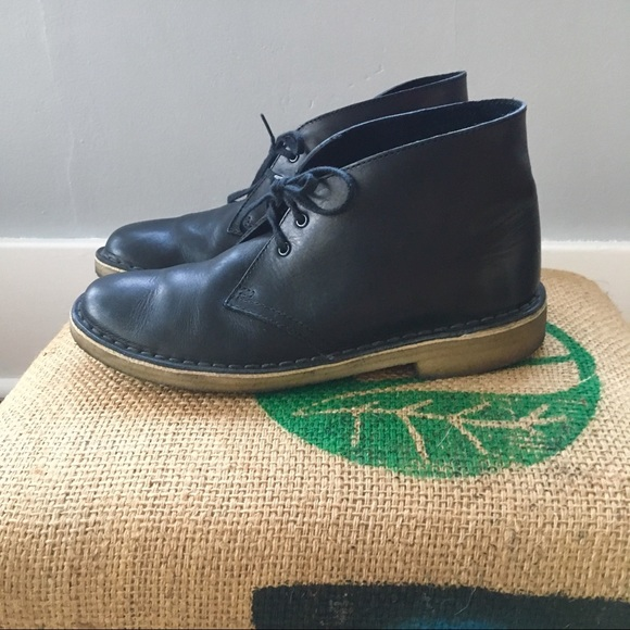 clarks desert boots black womens