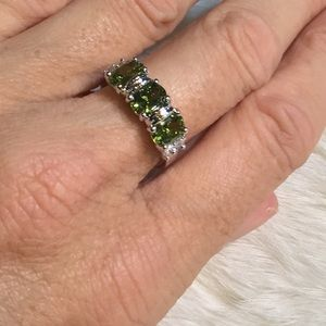 Jewelry - Peridot Color Silver Ring Size 7.5
