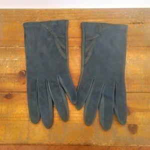 Vintage Suede and Leather Short Gloves Sz 8 / Lg