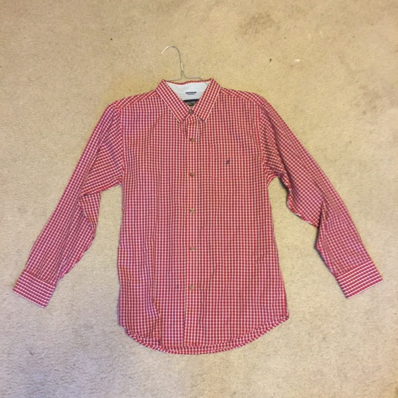 New Nautica Men/'s Pale Coral Gingham Button Down Long Sleeve Oxford Shirt XL