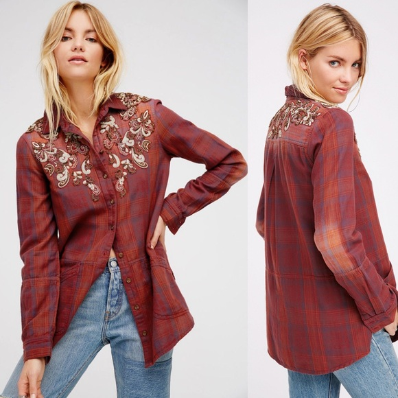 09a151dc61 Free People Tops - Free People Stevie s Embellished Plaid Flannel