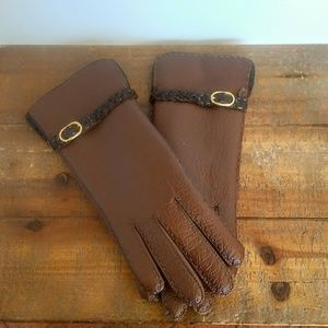 Vintage Vegan Gloves with Faux Wool Lining
