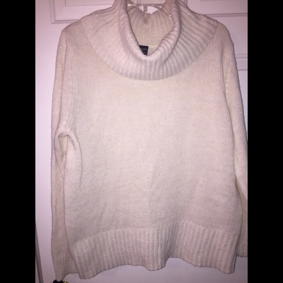 Faded Glory - Off-white cowl-neck sweater with gold flecks from ...