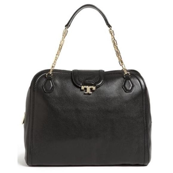 72bb61c5e704 Tory Burch Sammy leather black pebbled satchel bag.  M 5a1ca1825a49d00a8c0e1361