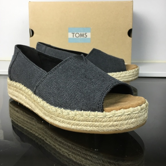 Toms Shoes | Black Washed Open Toe